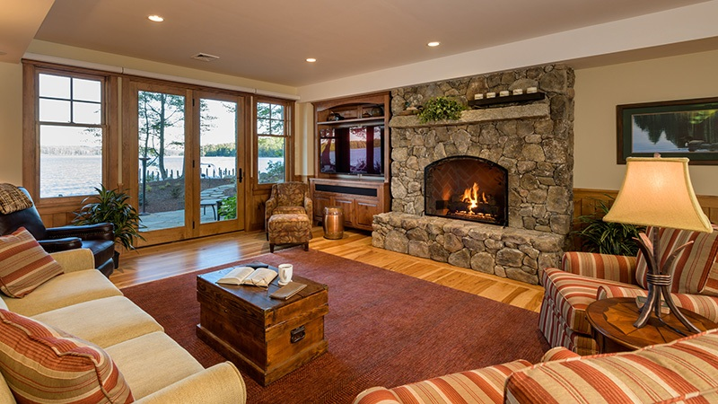 Family Room Stone Fireplace
